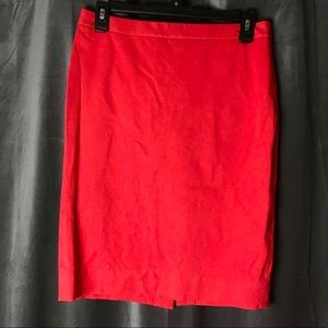 J Crew Red Cotton Pencil Skirt